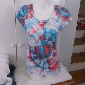 Old Navy Tops - Tie Dyed Blue Red Henley Knit Top L Festival